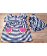 Girl's Size 3 M Months Carter's Two Piece Set Blue/White Watermelon Dres... - $14.50