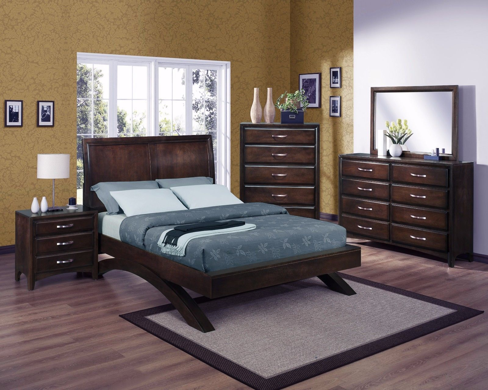 Crown Mark RB6150 Vera King Size Bedroom Set 5pc. Modern Transitional Style