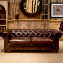 89'' Castered Chesterfield Top Grain Vintage Cigar Leather Sofa - $60.368,47 MXN