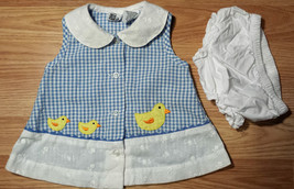 Girl's Size 0-3 M Months Two Piece Blue Gingham Duck Embroidered Dress &... - $14.00