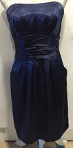 DAVID'S BRIDAL Dark Blue Strapless Formal Cocktail Bridesmaid Prom Dress... - $21.99