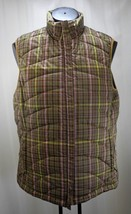Lands' End Green/Purple/Brown Plaid Quilted Zip Front Vest - Women's Sma... - $12.30