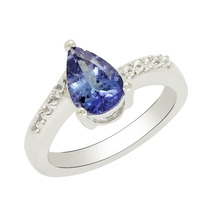 Pear shape natural tanzanite & white topaz solid 925 sterling silver rings jewel - $40.80
