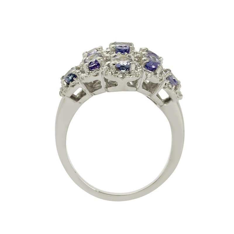 925 Sterling silver rings solid genuine tanzanite gemstone silver rings jewelry