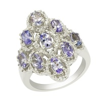 925 Sterling silver rings solid genuine tanzanite gemstone silver rings ... - £36.83 GBP
