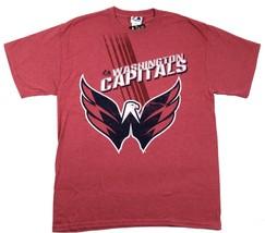 Large Washington Capitals Shirt Men's NHL Hockey Tee Heathered Vintage Red