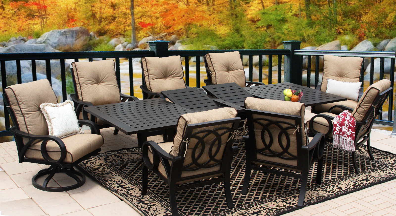 OUTDOOR PATIO 9PC DINING SET 44X130 RECT EXTEND SERIES 4000