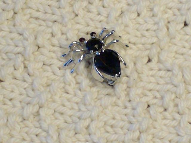Cookie Lee Black Crystal Spider Brooch - Item #89333 - New!