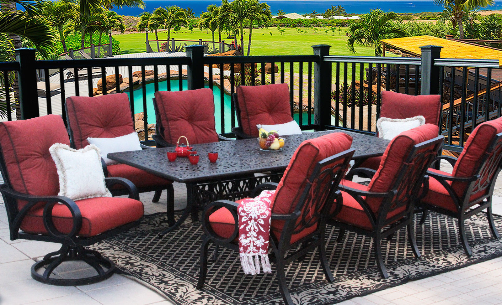 OUTDOOR PATIO 9PC DINING SET 44X102 RECT EXTEND SERIES 2000