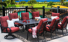 OUTDOOR PATIO 9PC DINING SET 44X102 RECT EXTEND SERIES 2000  - $7,801.20