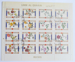 "Block of Stamps ""Roses"" Umm al Quwain United Arab Emirates 1972 - $175.00"