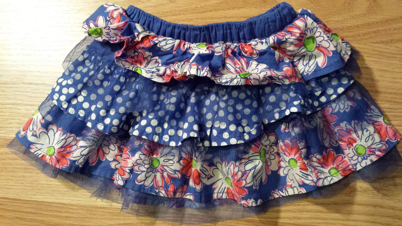 Girl's Sz 12-18 M Months 2 Pc Red Top & Blue Floral Tulle Children's Place Skirt