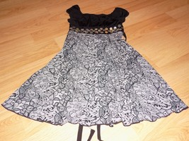 Girl's Size Small 5-6 ? Rare Editions Black Off White Pleated Shell Beaded Dress - $20.00