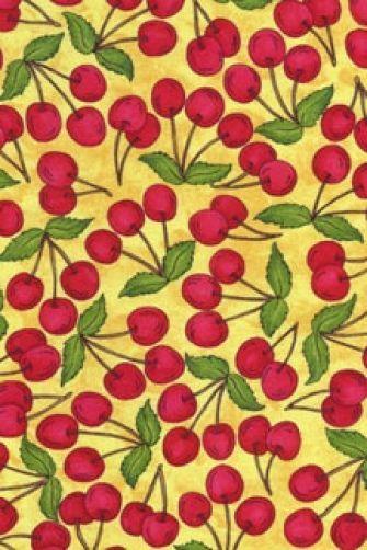 Home Grown Cherry Picking Cherries on Yellow Fruit Cotton Fabric Print D566.19