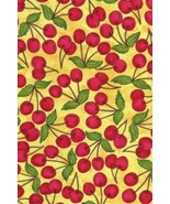 Home Grown Cherry Picking Cherries on Yellow Fruit Cotton Fabric Print D... - $6.92