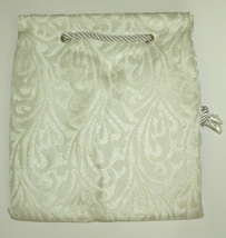 Judaica Embroidered Brocade Etrog Bag Case Sukkot Silver & Ivory image 2