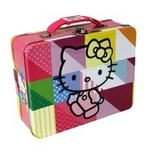 "Hello Kitty Multi Color Embossed Steel 7"" x 6"" Collectible Lunch Box - $17.83"