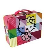 "Hello Kitty Multi Color Embossed Steel 7"" x 6"" Collectible Lunch Box - £13.21 GBP"