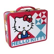 "Hello Kitty Pink and Blue Embossed 7"" x 6"" Collectible Steel Lunch Box - $17.83"