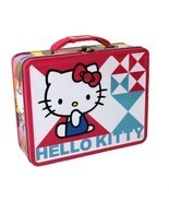 "Hello Kitty Pink and Blue Embossed 7"" x 6"" Collectible Steel Lunch Box - £13.21 GBP"