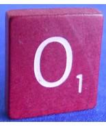 Single Maroon Scrabble Wood Letter O Tile One O... - $0.99