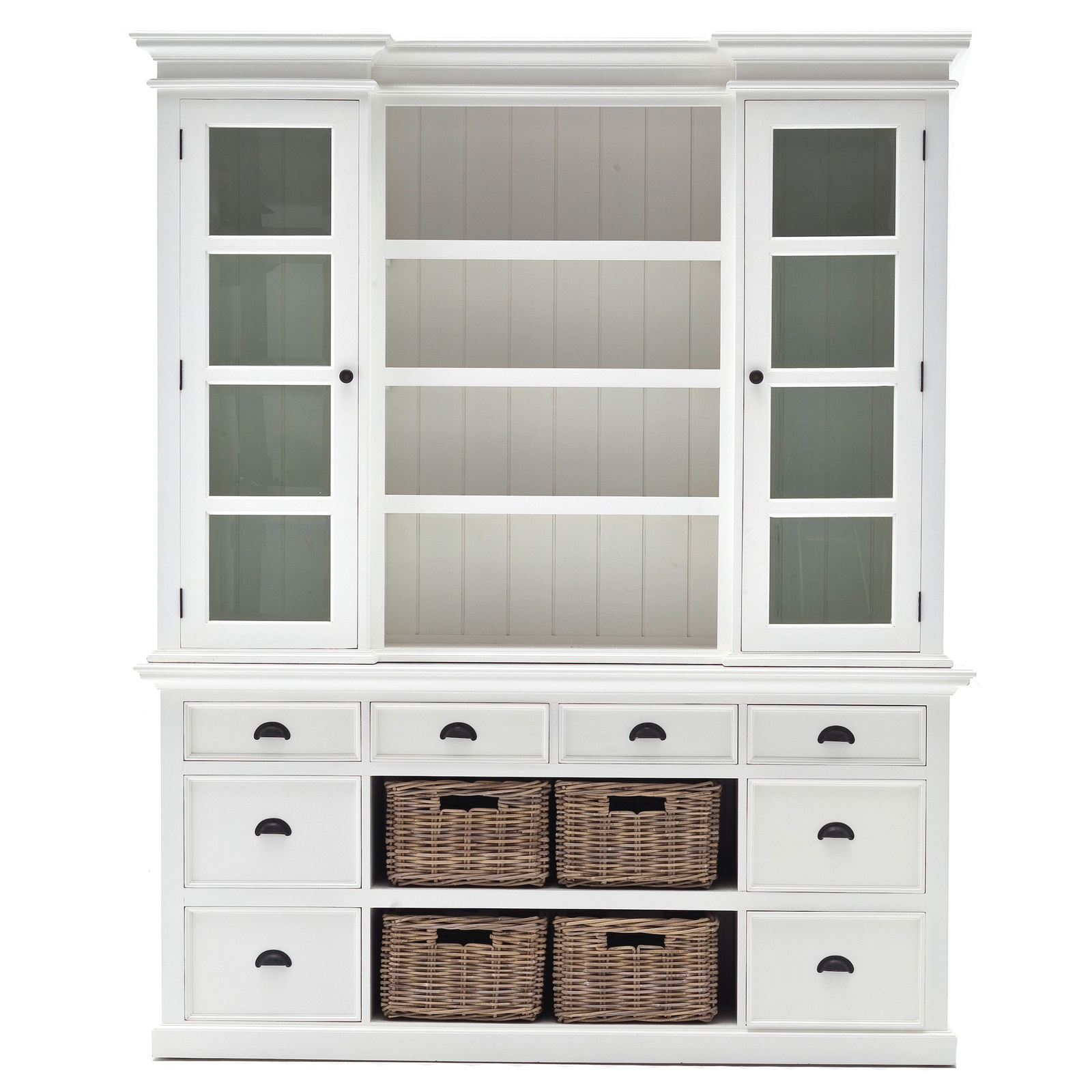 Tall wooden hutch buffet glass china cabinet dining living for Living room hutch