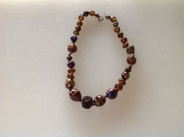 Necklace Vintage 1970's Shimmery Iridescent Brown Rust Glass Bead Bead - $24.90