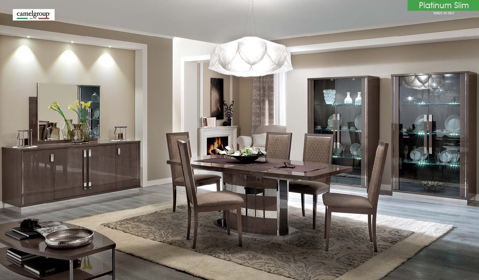ESF Platinum Dining Set 5pc. Lacquered Wood Table Contemporary Modern Italian