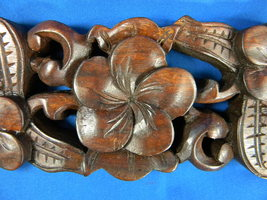 WW9097 HANDCRAFTED WOODEN BALINESE FLORAL RELIE... - $29.99