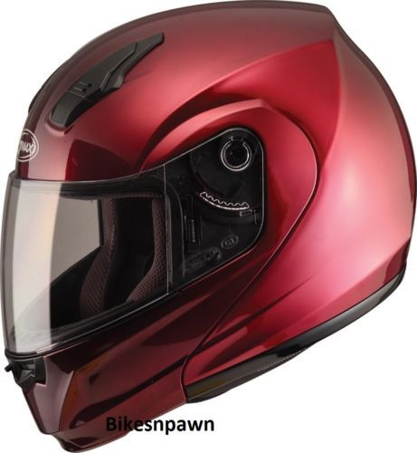 M GMax MD04 Wine Red Modular Street Motorcycle Helmet DOT