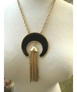 Couture Napier Enamel Pendant Necklace Chain Fringe Dangle Gold Plated D... - $29.69