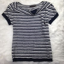 The Limited Women's Short Sleeve Black White Dressy Sweater Top Shirt Si... - $24.86