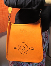 Merona Ladies Mustard Yellow Large Faux Leather... - $14.99