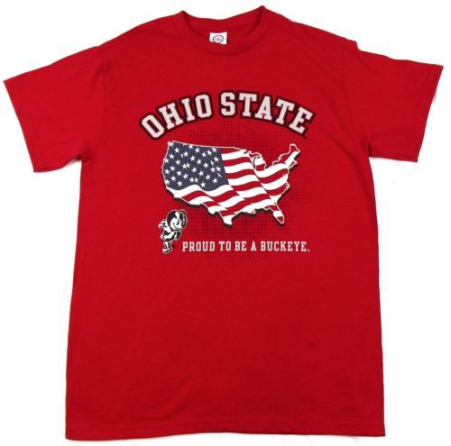 Ohio State Shirt Men's Proud To Be A Buckeye Patriotic United States Flag Tee