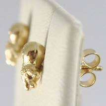 Yellow Gold Earrings 750 18k Lobe, Shaped Octopus, Shiny and Satin image 2
