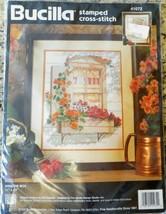 "Vintage Bucilla Stamped Cross Stitch Kit ""Window Box Flowers"" #41072 1995 NIP - $18.25"