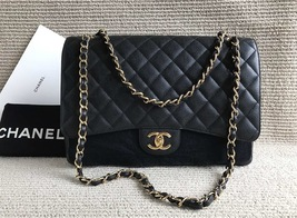 AUTHENTIC CHANEL BLACK QUILTED CAVIAR MAXI CLASSIC DOUBLE FLAP BAG GHW