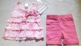 NEW NWT Girls 2 Piece Shorts Set Cutie Pie Floral Pink Bow 3/6 or 6/9 Months - $4.99