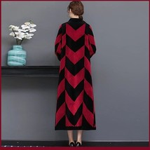 Luxury Long Red And Black V Neck Chevron Design Lamb Shearling Sheepskin Coat image 4