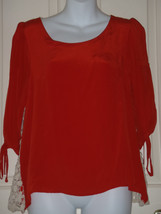 Size SMALL S Anthropologie Stitch & Knot Orange Lacy Blouse - $32.61