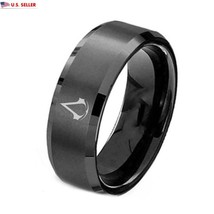 USA 8mm Assassin Creed Black Titanium Stainless Steel Men Ring Band Size... - $211,01 MXN