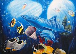 """David Zion """"Dolphin Swim"""" - S/N Serigraph - Retail $800 - COA - See Live - $80.00"""