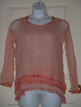 LARGE Knitted & Knotted Anthropologie Gauzy Knit Chiffon Orange Peachy Sweater  - $37.29