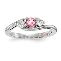 Ladies 925 Sterling Silver Rhodium-plated Clear & Pink Topaz Sue Ring Si... - $70.43