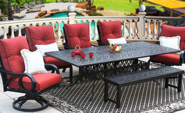 OUTDOOR PATIO 7PC DINING SET 44X102 RECT EXTEND SERIES 2000  - $6,237.00