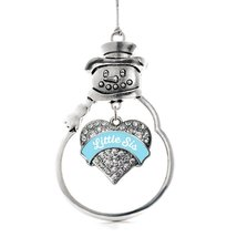 Inspired Silver Light Blue Little Sister Pave Heart Snowman Holiday Christmas Tr - $14.69