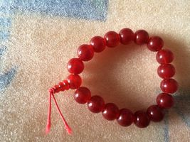 Red Colored Elastic Glass  Bead Bracelet  - $6.50