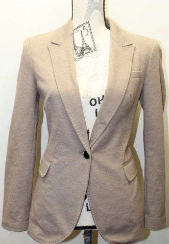 Zara Blazer Women Brown Thread Design Cotton Medium Tailored Fit Light