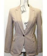 Zara Blazer Women Brown Thread Design Cotton Medium Tailored Fit Light - $34.57