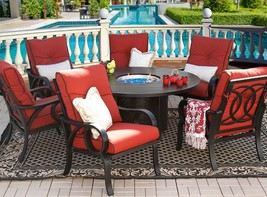 OUTDOOR PATIO 7PC DINING SET 60 ROUND FIRE TABLE SERIES 4000  - $6,138.00